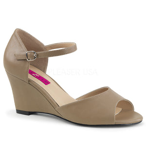 taupe ankle strap wedge peep toe sandal shoes with 3-inch heel Kimberly-5