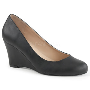 Classic black faux leather wedge pump shoes with 3-inch heels Kimberly-8