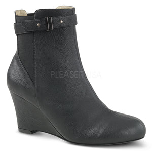 black faux leather ankle boot with 3-inch wedge heel Kimberly-102