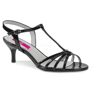 black T-Strap open toe sandal shoes with 2-inch kitten heel Kitten-06