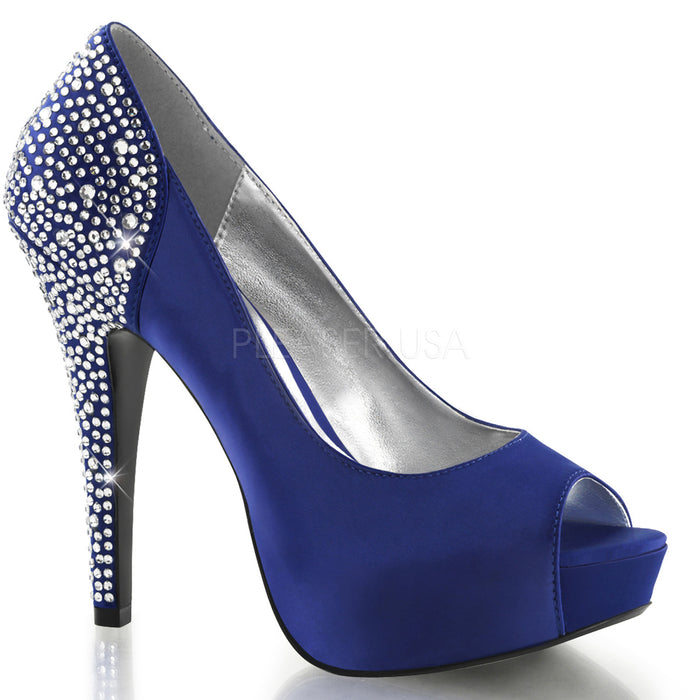 Hidden Platform Peep Toe Pump with Rhinestones on 5-inch Heel Red or Blue