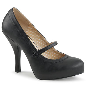 black faux leather Mary Jane pump shoes with 4.5-inch spike heel Pinup-01