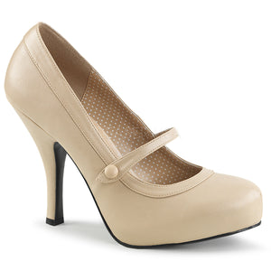 cream Mary Jane pump shoes with 4.5-inch spike heel Pinup-01