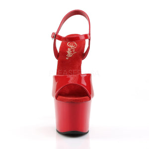 front of High heel red platform sandal shoes with 7-inch heel SKY-309