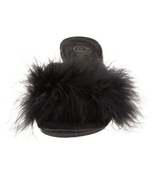 front of Fuzzy black feather trim slippers with 3 inch heels Belle-301F