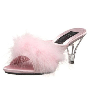 pink Fuzzy feather trim classic slippers with 3 inch clear heels Belle-301F