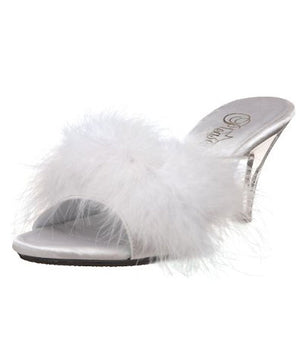 white Fuzzy feather trim classic slippers with 3 inch clear heels Belle-301F