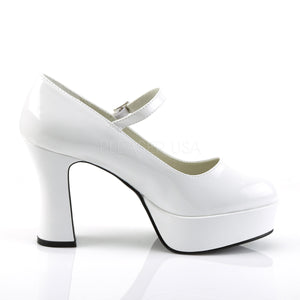 side view of white Mary Jane shoes with 4-inch chunky heels