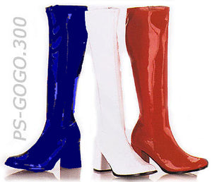 blue white and red knee high GoGo boots 3-inch heel sizes 5-16