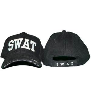 black hat with embroidered white SWAT on front, in back and on bill of cap