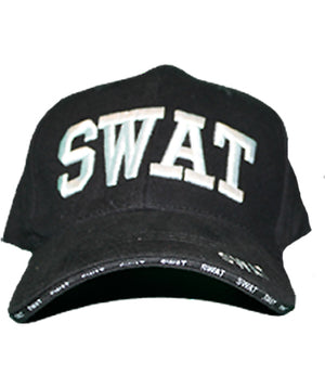 Special Weapons And Tactics black hat with embroidered white SWAT on front