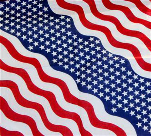 Waving USA American Flag Bandana 22x22