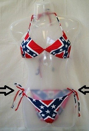 RF-18692 Rebel Confederate Flag Side Tie Bikini 2-pc Set