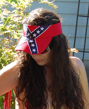RF-54431 Deluxe Rebel Confederate Flag Embroidered Visor