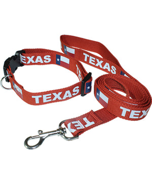 602830 Texas flag red dog collar and leash set