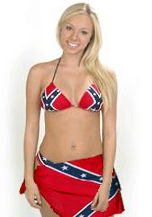 Rebel flag bikini Lycra triangle top, bottom and wrap skirt