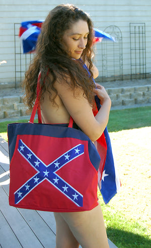 Rebel Confederate flag beach bag carried by model