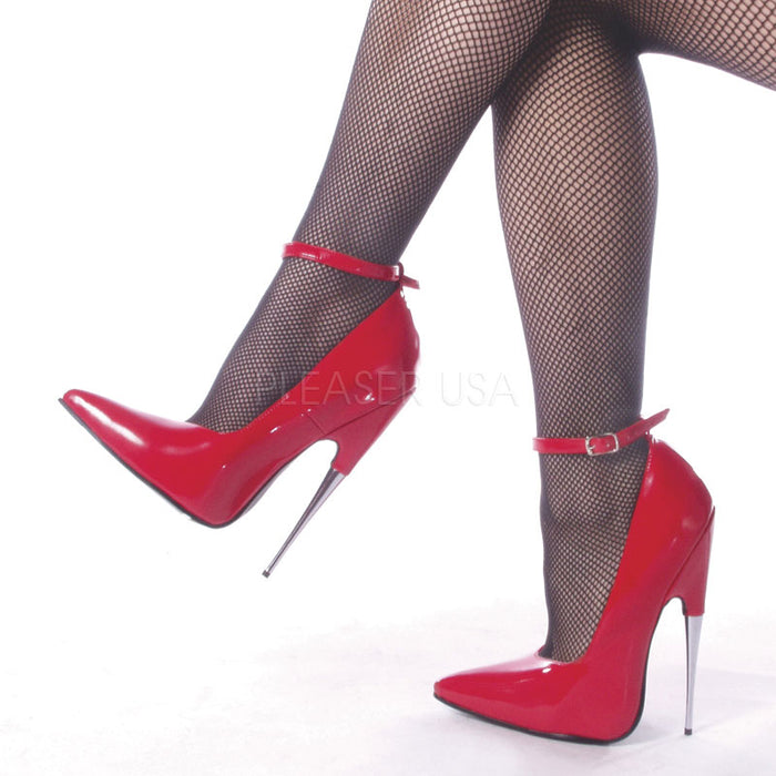 Fetish Ankle Strap Pump Shoes with Steel 6-inch Heels Red or Black