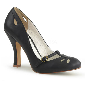 Instep strap black faux leather Mary Jane pump 4-inch heel Smitten-20