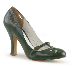Instep strap green faux leather Mary Jane pump 4-inch heel Smitten-20