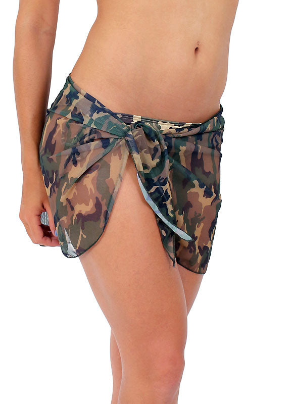 Camouflage Sheer Wrap Skirt Beach Cover-up