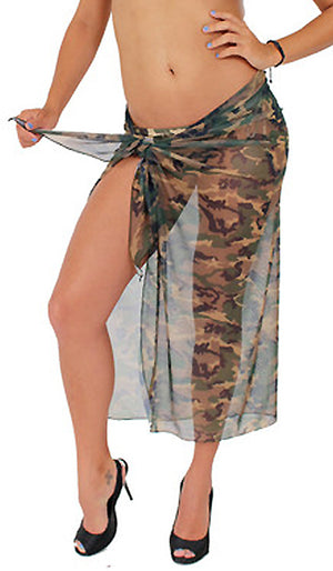 Sheer camouflage long wrap skirt ST269