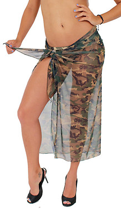 Camouflage Sheer Long Wrap Skirt Beach Sarong Cover-up