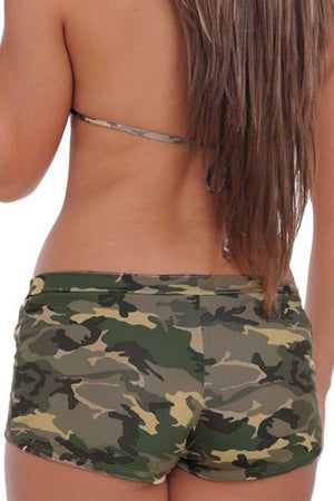 back of Camouflage bikini booty shorts