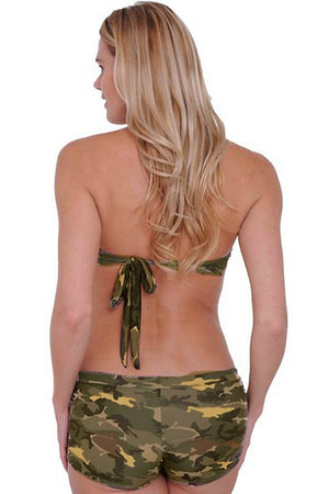 back of Camouflage bikini halter top ST802T with camo shorts