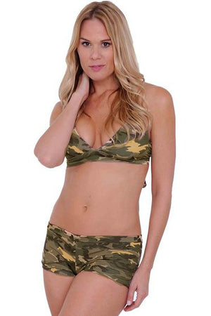 front of Camouflage bikini halter top and matching camo booty shorts