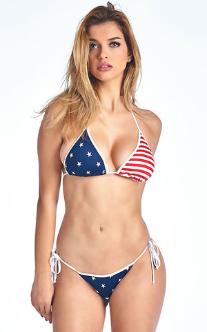 USA American flag bikini swimsuit with Brazilian cut back ST232