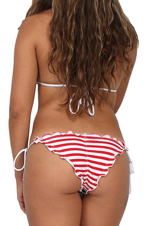 rear view USA American flag RUFFLE scrunch back side tie bikini