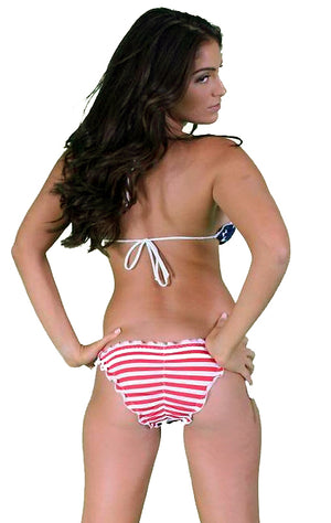 back view USA American flag RUFFLE scrunch back bikini set ST233