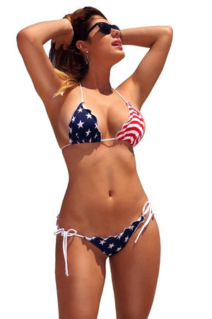 USA American flag RUFFLE scrunch back bikini set ST233