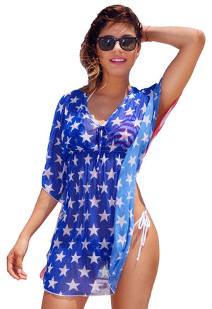 American flag stars and stripes sheer short sleeve beach dress ST260