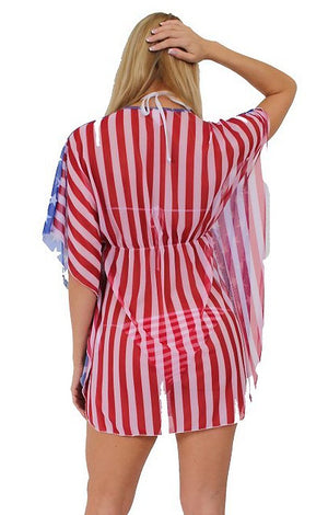 rear view American flag stars and stripes sheer beach dress ST260