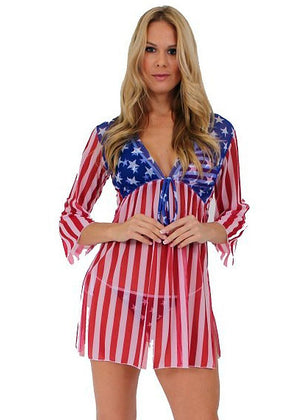 ST261 American flag sheer long sleeve beach dress