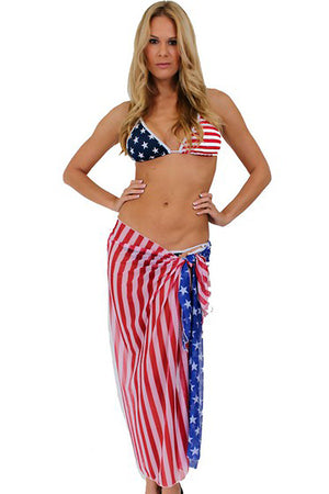 ST-ST264 American Flag Sheer Beach Long Sarong