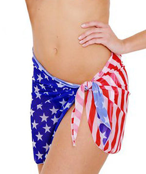 ST265 American flag sheer 16-inch beach wrap skirt