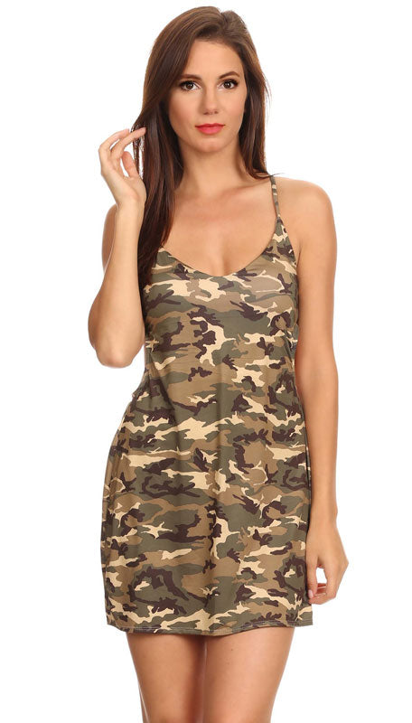 Camouflage Criss-Cross String Beach Dress Cover-up