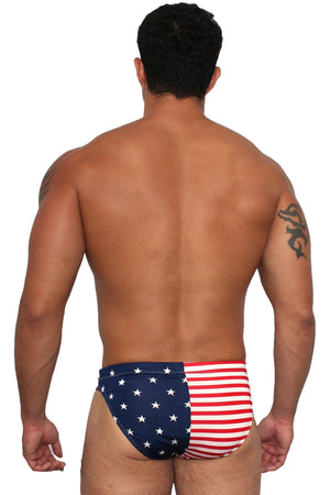 back view of USA American flag men's bikini swimsuit ST302