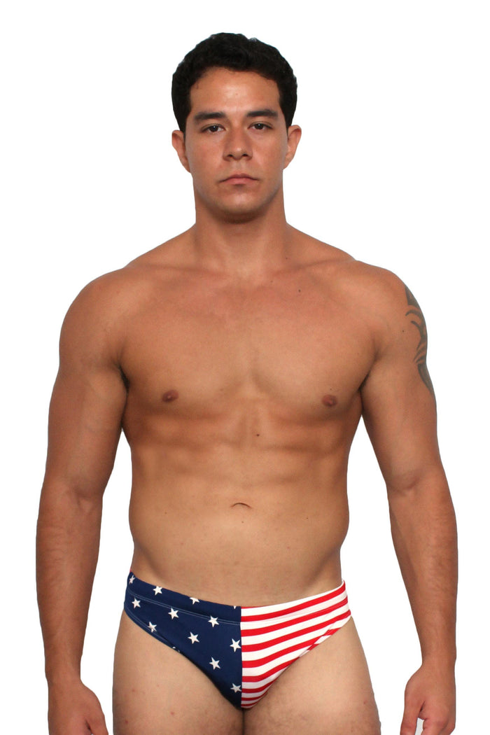 USA American Flag Men's Bikini Swimsuit
