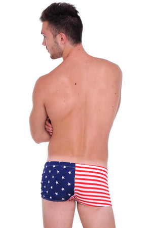 back view of USA American flag men's briefs swimsuit ST303