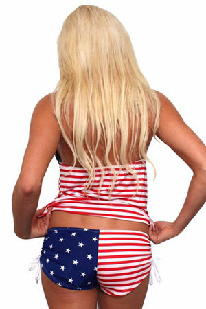 back view of USA American flag tankini and string shorts set