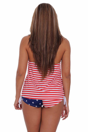 rear view USA American flag tankini and string shorts set