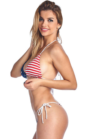 side view of USA American flag side tie thong back bikini ST435