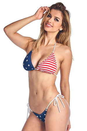 American Flag Thong Bikini 2-pc Set
