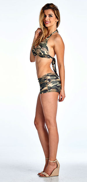 side view of Camouflage bikini halter top and matching camo booty shorts