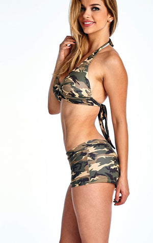 Camouflage bikini halter top and matching camo booty shorts