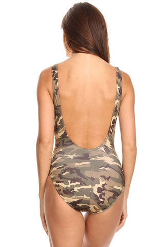back of Camouflage women's one-piece swimsuit ST810